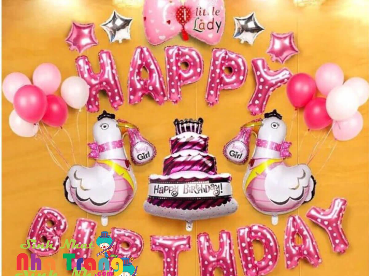 Set bong bóng trang trí thôi nôi sinh nhật Nha Trang