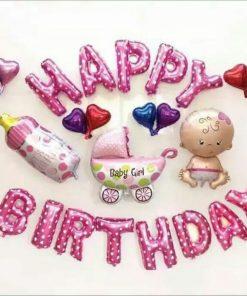 set bóng trang trí sinh nhật màu hồng