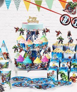 set phụ kiện trang trí bàn sinh nhật thôi nôi tại nha trang chủ đề siêu anh hùng