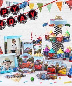 set phụ kiện trang trí sinh nhật thôi nôi chủ đề Mc Queen tại nha trang