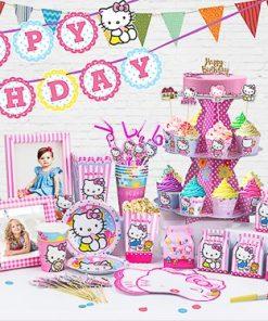 set phụ kiện trang trí sinh nhật thôi nôi chủ đề kitty tại nha trang