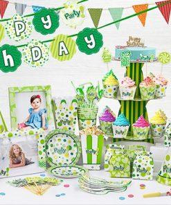 set phụ kiện trang trí sinh nhật thôi nôi màu xanh lá tại nha trang