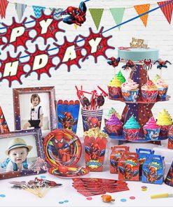 set phụ kiện trang trí sinh nhật chủ đề Siêu nhân nhện tại nha trang