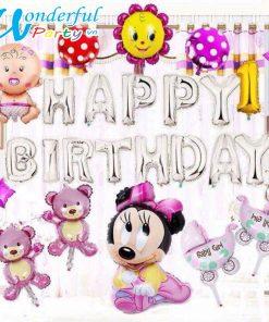 set bóng trang trí sinh nhật cho bé gái màu hồng