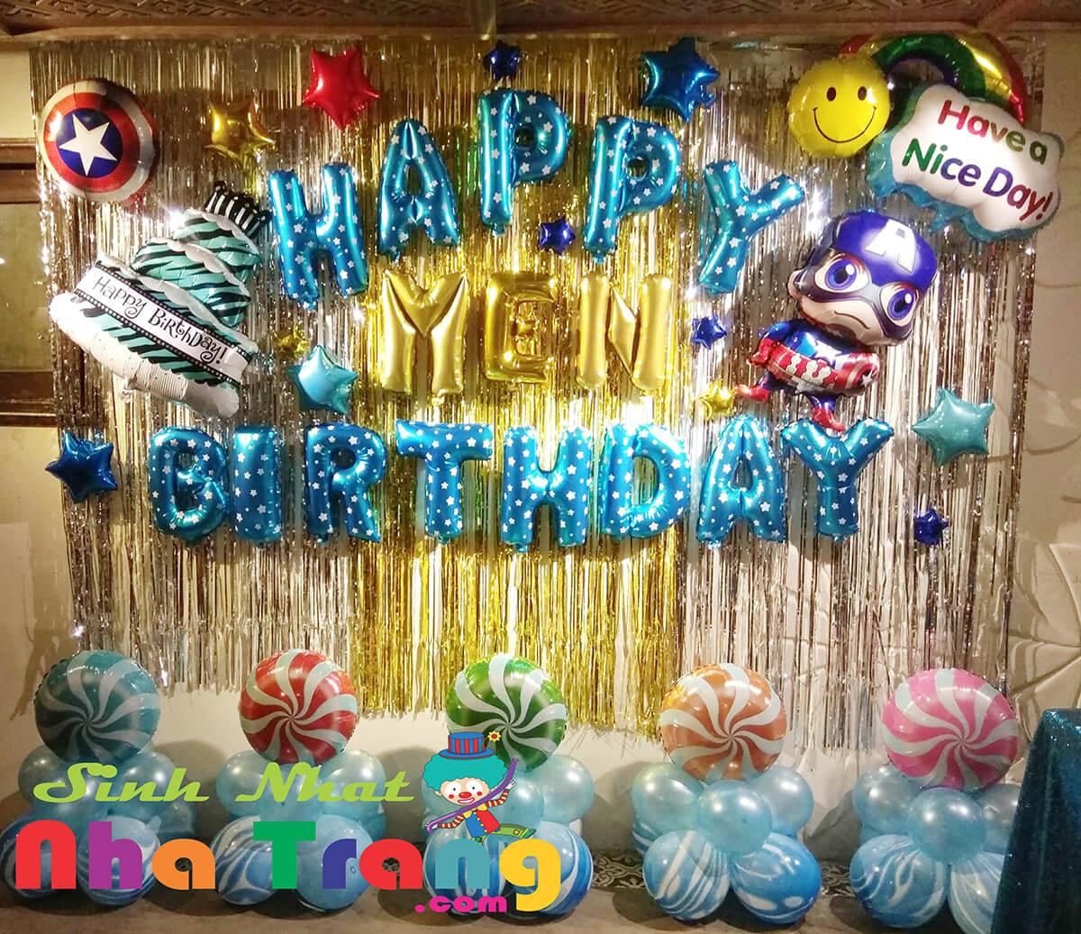 Set bong bóng trang trí sinh nhật thôi nôi tại Nha Trang