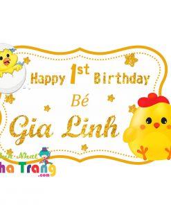 bảng tên sinh nhật thôi nôi gà vàng nha trang