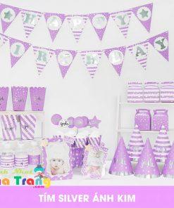set phụ kiện trang trí sinh nhật ép kim màu tím