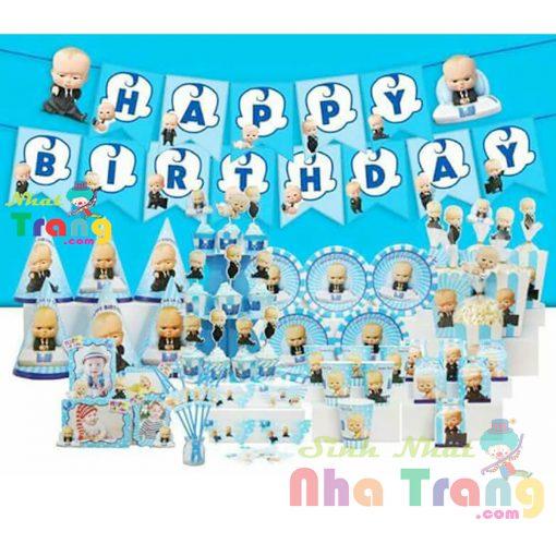 set phụ kiện trang trí sinh nhật chủ đề nhóc trùm