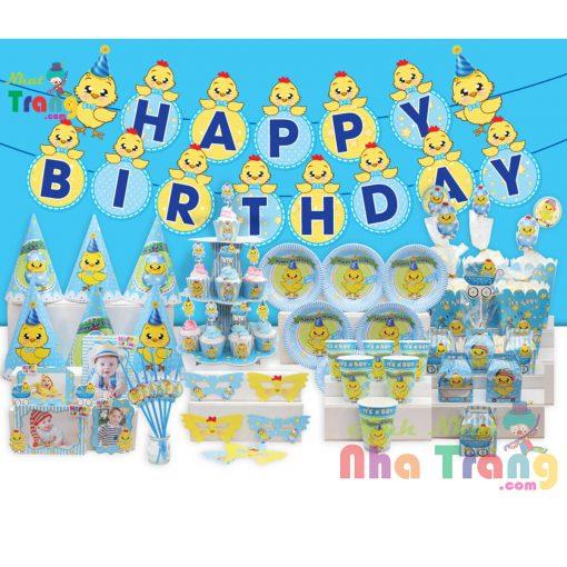 set phụ kiện trang trí sinh nhật gà xanh