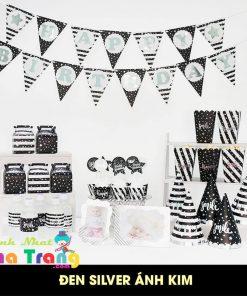 set phụ kiện trang trí sinh nhật ép kim màu đen bạc tại nha trang