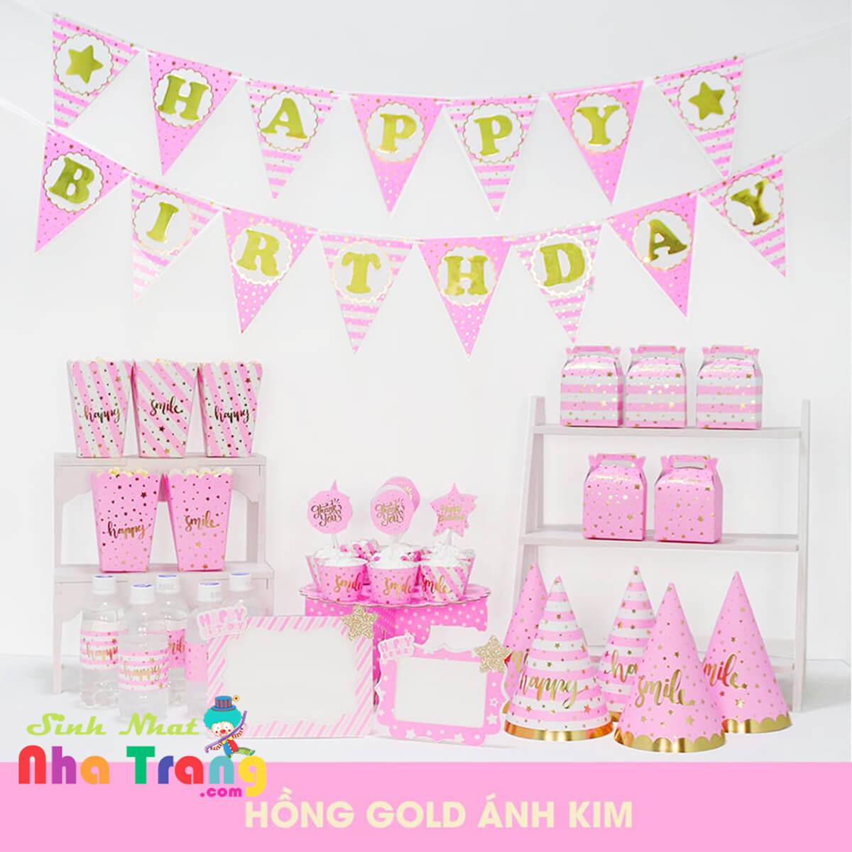 set phụ kiện trang trí sinh nhật ép kim màu hồng