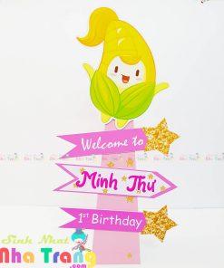 trang trí sinh nhật bằng cây welcome nha trang