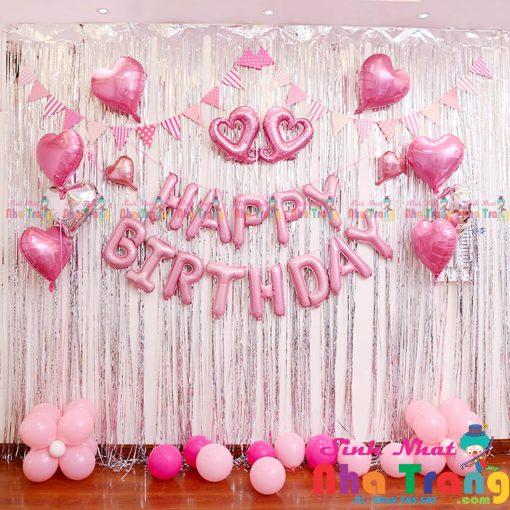 set bóng trang trí sinh nhật bé gái