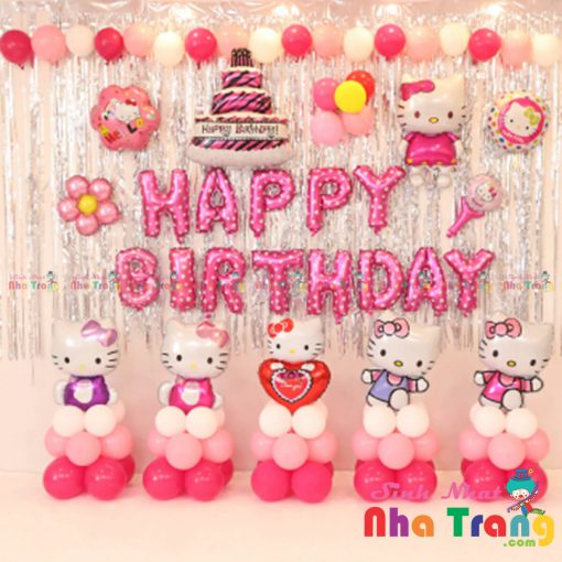 set bóng trang trí sinh nhật bé gái chủ đề kitty tại nha trang